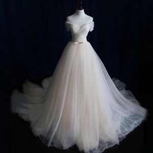 Dresses & Skirts - Couture cap sleeves tulle wedding gown